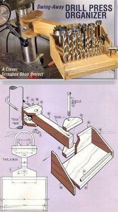 Drill Press Organizer - Drill Press Tips, Jigs and Fixtures | WoodArchivist.com #woodworkingideas