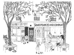 Illustration for Paris Literary Prize Website © julie morstad 2012 Shakespeare and Company Books Pen and Ink Ink Illustrations, Illustration Art, Shakespeare And Company Paris, Black And White Sketches, Vintage Photographs, Book Lovers, World, Drawings, Architecture Sketches
