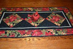Holiday Table Runner Poinsettia Festive Seasonal Table Topper