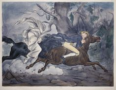 Legend of Sleepy Hollow, plate 6 (Ichabod persued by the headless horseman) by F.O.C. Darley
