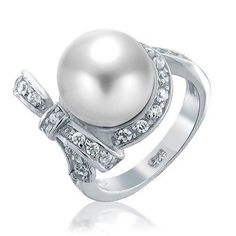 Bling Jewelry Bridal CZ Bow Ribbon South Sea Shell White Pearl Ring