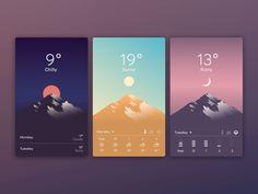 Weather App inspiration via Muzli