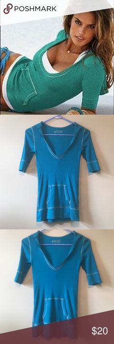 Victoria's Secret Hoodie The color is turquoise. Model picture just shown for fit, not color. Size small. Very cute with a tank underneath! Scoop neck. Victoria's Secret Sweaters Crew & Scoop Necks