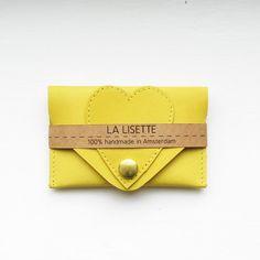 Giallo portatessere in pelle / portafoglio / custodia di LaLisette