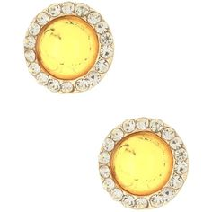 Cara Accessories Crystal Trimmed Round Cabochon Stud Earrings (€8,85) ❤ liked on Polyvore featuring jewelry, earrings, cara accessories, cabochon earrings, round stud earrings, pave earrings and gold tone jewelry