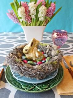 "Bring spring indoors with an easy-to-craft decorative bird's nest you can whip up while watching your favorite show. Fill the realistic-looking nest with painted robin's eggs, dyed eggs or Easter candy. Get crafting with our <a target=""blank"" href=""http://www.hgtv.com/design/make-and-celebrate/handmade/how-to-craft-a-faux-birds-nest-with-robins-eggs"">step-by-step instructions</a>."