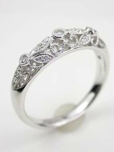 Floral and Filigree Wedding Ring. Love