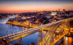 Download wallpapers Porto, evening, city lights, city panorama Portugal