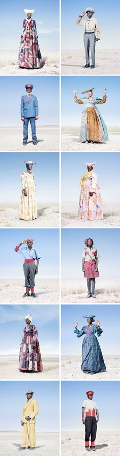 'Hereros' portrait series by Jim Naughten. Each image, a portrait of Herero tribe members of Namibia, reveals a material culture that harkens the region's tumultuous past: residents wear Victorian era dresses and paramilitary costume as a direct result and documentation of its early 20th c. German colonization.