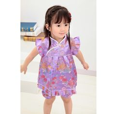 2017 Floral Qipao Children's Summer Sets baby girls clothes outfits suits New Year Chinese dresses short pants cheongsam