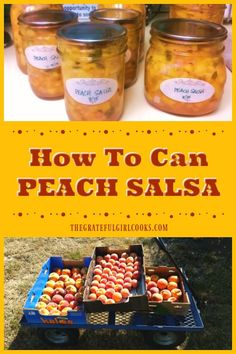 Learn how to can peach salsa, with fresh peaches, limes, jalapenos, etc. It's a great way to store the bounty of summer in the pantry all year round! / The Grateful Girl Cooks! Peach Salsa Recipe For Canning, Ball Canning Recipe, Peach Preserves Recipe, Salsa Canning Recipes, Peach Salsa Recipes, Canning Salsa, Canning Tips, Jam Recipes, Fruit Recipes