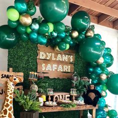 Jungle Sarfari Theme Party Decorations Green Balloons Palm Leaf latex Animal Forest DInosaur Theme Party Zoo Theme Party decorations and supplies 15 off sitewide – Noahs Boytique Zoo Party Themes, Jungle Party Decorations, Jungle Theme Parties, Safari Theme Party, Balloon Decorations, Boys First Birthday Party Ideas, First Birthday Party Decorations, Wild One Birthday Party, Safari Birthday Party