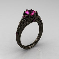 Classic 14K Black Gold 10 Carat Pink Sapphire by artmasters, $2299.00
