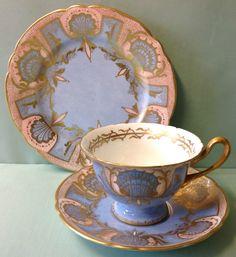 Shelley Gainsborough Shape Unknown Pattern Tea Cup Trio.
