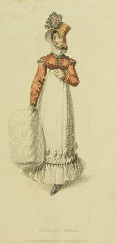 1817. Ансамбль для прогулок: платье, спенсер, шляпка, муфта.