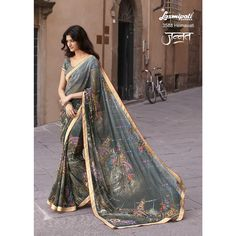 Laxmipati Georgette Designer Printed Saree in Beetle Green colour