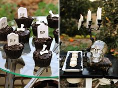 rip cupcakes and white chocolate skulls