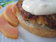 Spicy Crabcake with Pigeon Peas and Bird Peppers Pigeon Peas, Puerto Rican Recipes, Crab Cakes, Menu Restaurant, Burger Recipes, Burgers, Hamburger, Spicy, Sandwiches