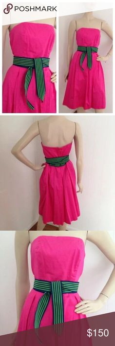 """💝 Lilly Pulitzer Strapless Dress LILLY PULITZER White Label Dress  Fully lined Hot Pink with attached navy and green striped sash belt. You can tie the belt in front or back. Zips in back """"bones"""" in bodice to hold it up.  100% Cotton Lilly Pulitzer Dresses Midi"""