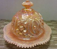 Carnival Glass Iridescent Pink  Round Covered Butter Dish / Cheese Tray