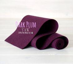 """100% Merino Wool Felt Roll - 5"""" x 36"""" Wool Felt Roll - Wool Felt Color Dark Plum-3080 - Pure Merino Wool Felt - Plum Color Pure Wool Felt"""