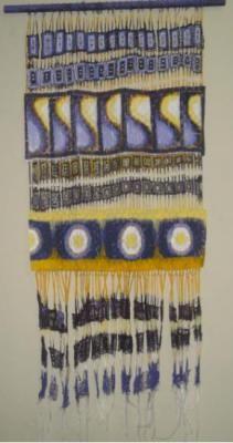 tapiz yaje tapiz tejido en telar vertical gasa,retal de tela tecnica mixta,tejido emsamble en telar