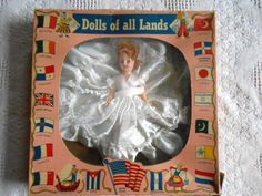 VINTAGE DOLLS OF ALL LANDS Bride Doll In Original Box A & H Doll Manufacturing