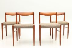Set of four teak H.W.Klein side chairs produced by Bramin Møbler, Denmark. www.reModern.dk