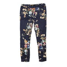 Pre-owned Zara Basic Casual Pants (47 BRL) ❤ liked on Polyvore featuring pants, dark blue, zara pants, zara trousers and dark blue pants