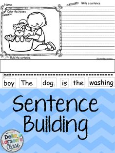 Reading, writing, and building sentences. Perfect NO PREP writing activity for kindergarten centers. Use these with your ELL's to build sentence structure and vocabulary. Perfect for differentiating instruction. Kindergarten Centers, Kindergarten Literacy, Kindergarten Activities, Writing Activities, Classroom Activities, 1st Grade Writing, Work On Writing, Teaching Writing, Writing Workshop