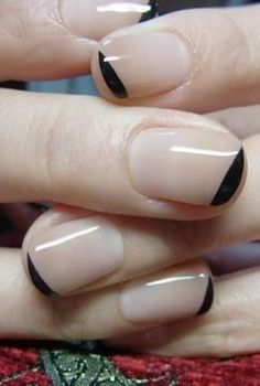 a new way to do nude nails — with a black accent.
