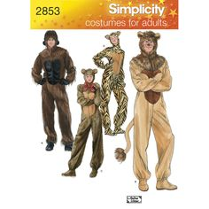 Create fuzzy and furry animal costumes for adults: gorilla, lion, bear and cat…