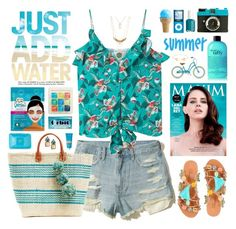 """""""Beach vibes"""" by doga1 ❤ liked on Polyvore featuring Hollister Co., MANGO, Bonbon, Mar y Sol, Tom Ford, Ben's Garden, Yes To, Crabtree & Evelyn, Lomography and Schwinn"""