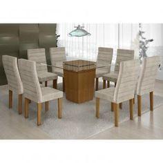 Conjunto Sala de Jantar Mesa Tampo Vidro 8 Cadeiras Ômega Cel Móveis Nogueira/ Suede Animale Cru - Móveis para Salas de Jantar - Magazine Luiza