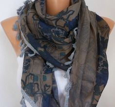 Multicolor  Scarf -  Cowl with Lace Edge - fatwoman. $17.00, via Etsy.