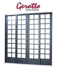 Porta de Correr em Aço 4 Folhas Quadriculada sem Vidro com Fechadura - Requadro 12 cm - Linha Ouro Gerotto