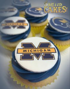 Michigan Wolverines Football, Make A Wish, How To Make, For Your Party, Team Logo, Your Favorite, Cupcakes, Cupcake Cakes, Michigan Wolverines