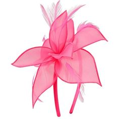 M&Co Pink Organza Flower Fascinator ($13) ❤ liked on Polyvore featuring accessories, hair accessories, fuchsia, pink fascinator hats, pink hair accessories, feather hair accessories, pink flower hair accessories and flower fascinator