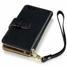 iPhone 5 Black With Brown Interior and Strap Wallet Genuine Pure PU Leather Case Cover Pouch Pocket from The Keep Talking Shop iPhone 5 Acce...