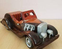 RARA coche madera artesanal Vintage 1960-1970