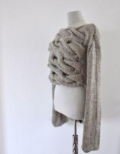 Sweater Cardigan Jacket Tunic Chunky Sweater Hand Knit Beige Sand Earth Tones