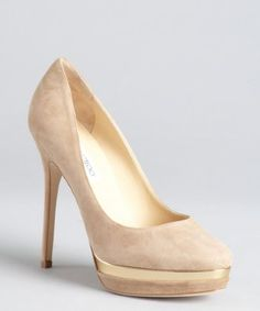 Jimmy Choo : taupe suede and gold lacquered platform 'Brulee' pumps