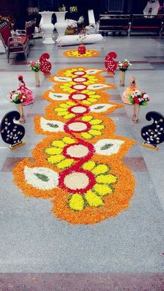 Rangoli Designs Flower, Colorful Rangoli Designs, Rangoli Ideas, Rangoli Designs Diwali, Diwali Rangoli, Flower Rangoli, Flower Designs, Diwali Decorations At Home, Home Wedding Decorations