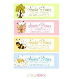 Childrens Address Labels - kids stationary - 12 Address Labels  Sweet Nature Friends  Design  by LePetitePeaPod