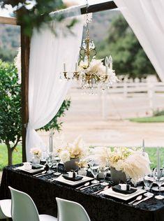 Drapery, Black Velvet, and a Chandelier covered in Flowers Rock Chic, Unique Weddings, Black Weddings, Bohemian Weddings, Bridal Jumpsuit, Creative Wedding Ideas, Rocker, Bridal Suite, Vineyard Wedding
