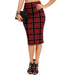red plaid pencil skirt 26