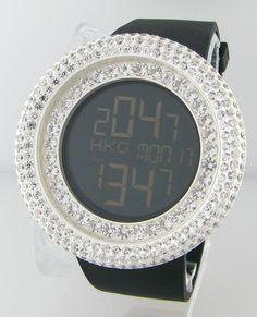 Watch: Techno com by KC  Face Black Digital  Stone: White CZ  Case: Silver  Retail Price $3500 $3,500.00