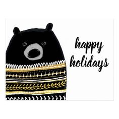 Merry Christmas | Happy Holidays Polar Bear Postcard - holidays diy custom design cyo holiday family