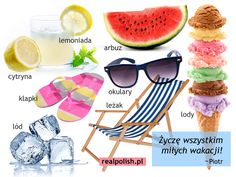 Polish vocabulary - On holiday Foreign Language, Speech And Language, Learn Polish, Polish Language, Poland, Vocabulary, Education, Fruit, Learning