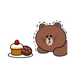 LINE MOBILE & LINE FRIENDS Buzzwords! | Line Sticker Friends Gif, Line Friends, Gifs, Gif Pictures, Cute Pictures, Hungry Gif, Bear Gif, Cony Brown, Chibi Cat